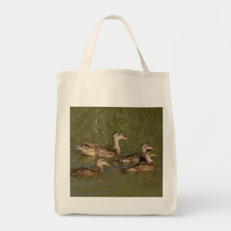 Grocery Tote, Mallard Hen and Ducklings Tote Bag