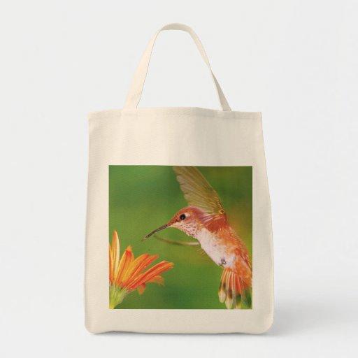 "Grocery Tote ""Orange Hummingbird "" Grocery Tote Bag"