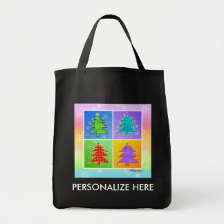 Grocery Tote - Pop Art Christmas Trees