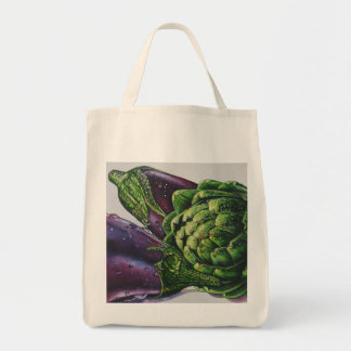 """Grocery Tote with """"Aubergines and an Artichoke"""""""