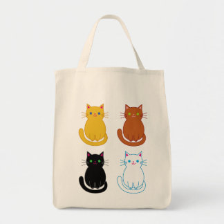 Grocery tote with four cute cats