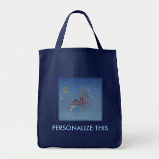 Grocery Totes - Carousel Rabbit Grocery Tote Bag