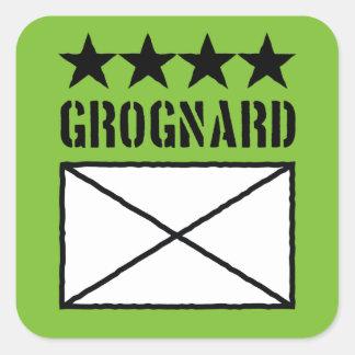 Grognard de cuatro estrellas pegatina cuadrada