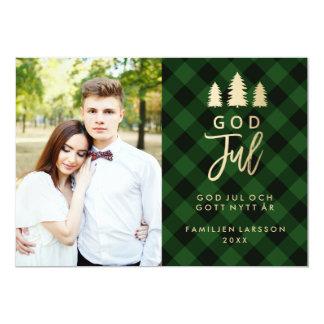 Grön Pläd God Jul | Julkort Card
