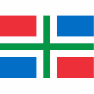 Groninga, bandera holandesa fotoescultura vertical