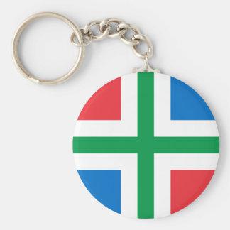 Groninga, bandera holandesa llavero redondo tipo pin