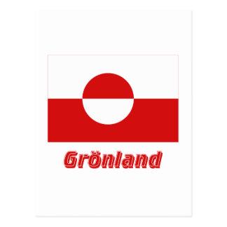 Grönland Flagge mit Namen Postcard