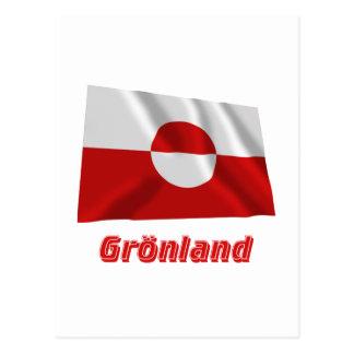 Grönland Fliegende Flagge mit Namen Postcard