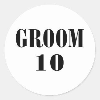 Groom 10 Black Classic Round Sticker