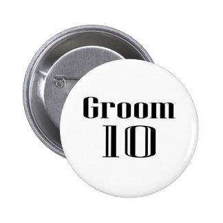 Groom 10 2 inch round button