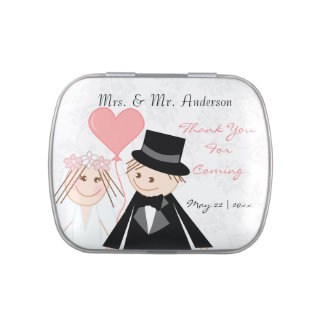 Groom and bride cute cartoon candy tins