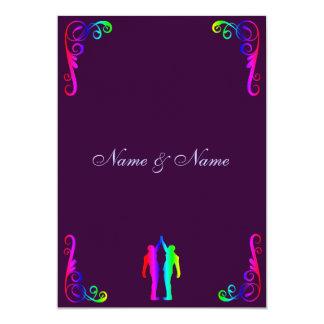Groom and Groom - Rainbow and Purple Wedding 5x7 Paper Invitation Card