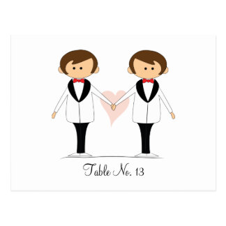 Groom and Groom Wedding Table Cards Postcard