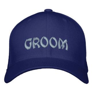 Groom baseball cap in bright blue / oriental font.