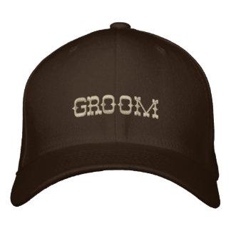 Groom baseball cap in chocolate brown