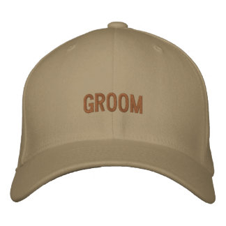 Groom baseball cap in khaki with brown font.