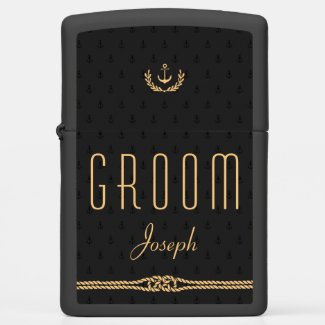 Groom Black And Gold Nautical Zippo Lighter