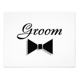 Groom Black Bow Tie Personalized Invitations