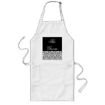 Groom Black Damask Wedding Shower Apron