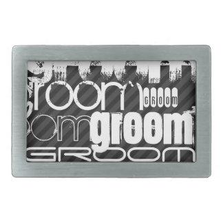 Groom; Black & Dark Gray Stripes Belt Buckle