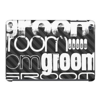 Groom; Black & Dark Gray Stripes iPad Mini Cases