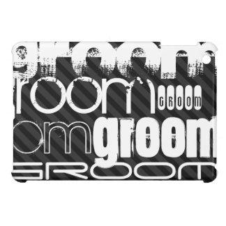 Groom; Black & Dark Gray Stripes iPad Mini Cover