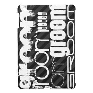 Groom; Black & Dark Gray Stripes iPad Mini Covers