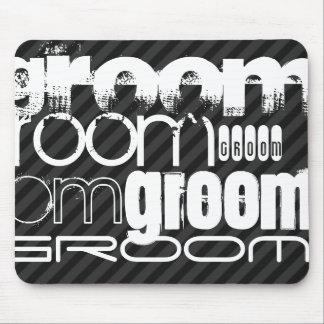 Groom; Black & Dark Gray Stripes Mouse Pad