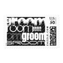 Groom; Black & Dark Gray Stripes Postage