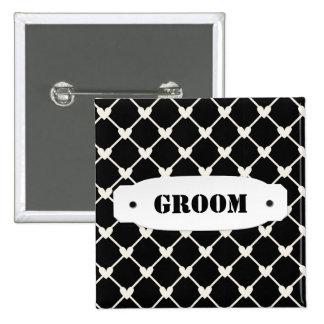 Groom Black Love Hearts Wedding Pattern Pins