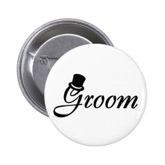 Groom (Blk Top Hat) 2 Inch Round Button