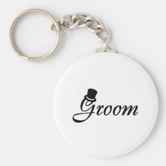 Groom (Blk Top Hat) Basic Round Button Keychain