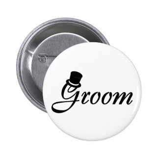 Groom Blk Top Hat Button