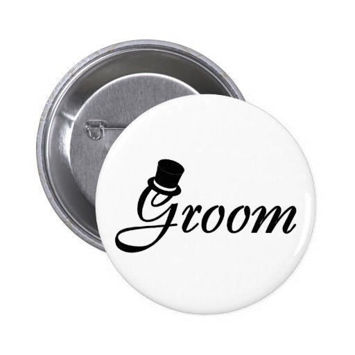 Groom (Blk Top Hat) Button