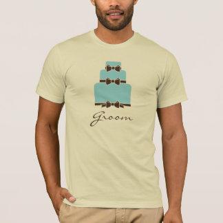 GROOM Blue and Brown Wedding Cake T-Shirt