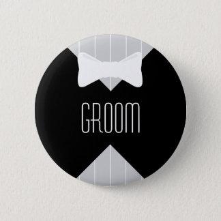 Groom Bowtie & Stripes Pinback Button
