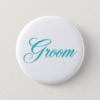 Groom Bridal Party Button in Aqua Blue