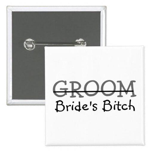 Groom Brides Bitch 2 Inch Square Button
