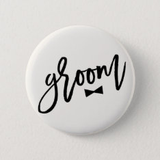 Groom Brush Bow Tie Wedding Bridal Party Button at Zazzle