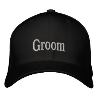 Groom cap in basic black with gray font. embroidered baseball cap