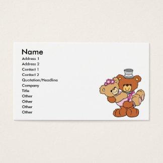 groom carrying bride cute wedding bears business card