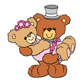 groom carrying bride cute wedding bears cutout
