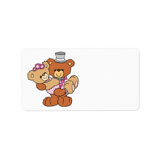 groom carrying bride cute wedding bears label