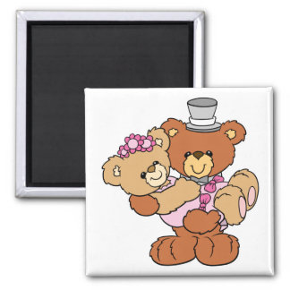 groom carrying bride cute wedding bears magnet