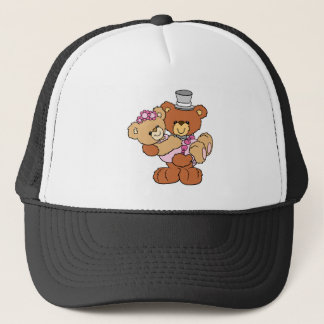 groom carrying bride cute wedding bears trucker hat
