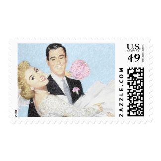 Groom Carrying Bride Postage Stamps