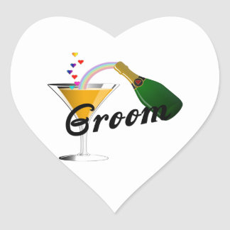Groom Champagne Toast Heart Sticker