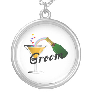 Groom Champagne Toast Silver Plated Necklace