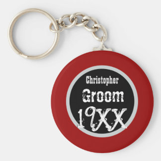 GROOM Custom Year and Name Grunge Text V03 Basic Round Button Keychain