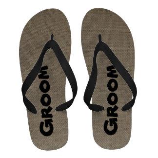 Groom Flip Flops - Burlap Look